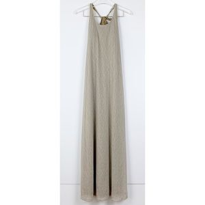 Athleta Tan Moonstone Damask Mesh Maxi Dress